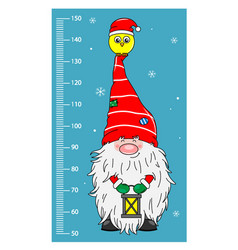 Wall meter gnome with bird in hat vector