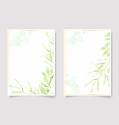 watercolor green leaf and golden glitter frame vector image