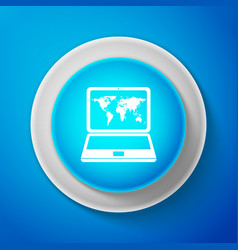 White laptop with world map on screen icon vector