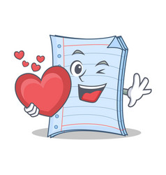 With heart notebook character cartoon design vector