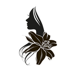 woman s face in flower vector image