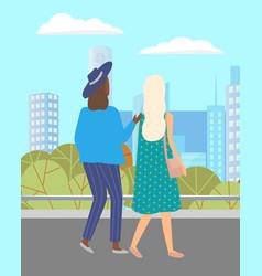 women walking down street meeting vector image