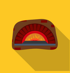 wood-fired oven icon in flat style isolated on vector image