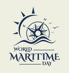 World maritime day with compass in flat style vector