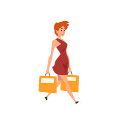young beautiful woman in red dress walking with vector image