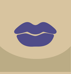 color lips biting retro icon isolated on vector image