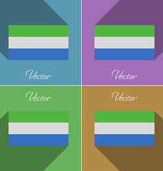 Flags SIERRA lEONE Set of colors flat design and vector image vector image