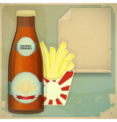 Beer and chips menu vector