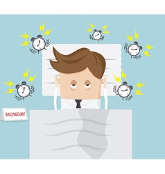 businessman lazy in bed on monday morning vector image