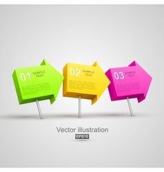 Colorful arrow pushpins 3D vector image