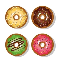 donuts with cream and glaze isolated vector image vector image