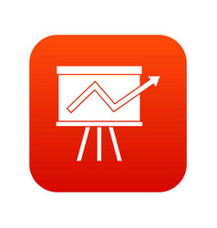 flip chart with statistics icon digital red vector image vector image