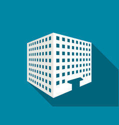 multi-storey building with a long shadow flat vector image