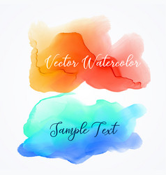 Orange and blue watercolor ink stain background vector