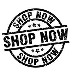 shop now round grunge black stamp vector image vector image