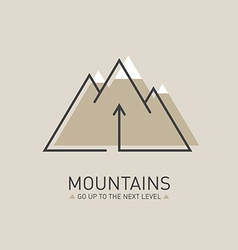 Mountains logo in line style Mono line logotype vector image vector image