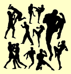 muay thai boxing sport silhouette vector image