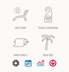Palm tree paper towel and beach deck chair icons vector