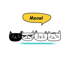 set of cute cat doodle vector image