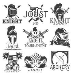 Set of heraldic knight labels in vintage vector