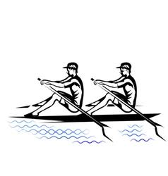 team rowing vector image vector image