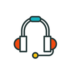thin lines connection icon outline of headphones vector image