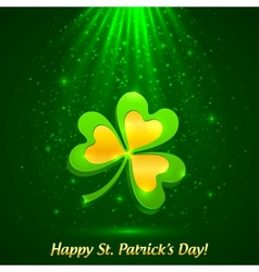 Green and golden clover in the magic light vector image vector image