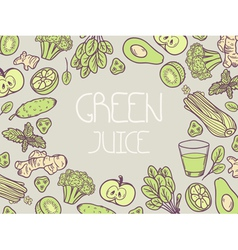Green juice Background with vegetable frame vector image