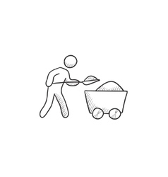 Mining worker with trolley sketch icon vector image vector image