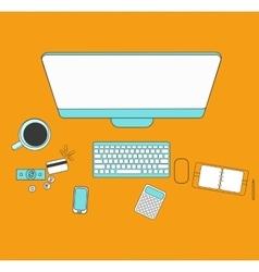 Set of flat design for desktop Line icons flat vector image
