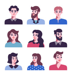 set of positive men and women avatar icons vector image vector image
