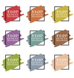 stop human traffickung sing and symbol vector image vector image