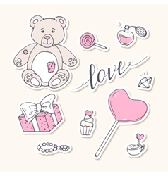 Valentine day stickers collection with LOVE hand vector image