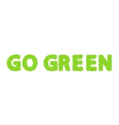 word go green with leaves on a white vector image