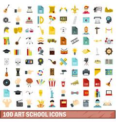 100 art school icons set flat style vector