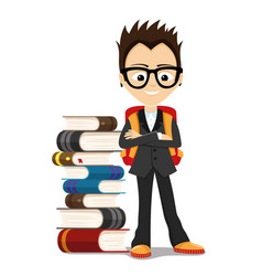 A school boy with a pile of books vector