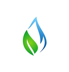 abstract ecology water and leaf logo vector image