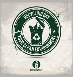 alternative recycling day stamp vector image