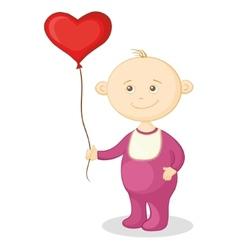 Baby with a heart balloon vector