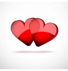 Background Two Hearts Happy Valentines Day vector