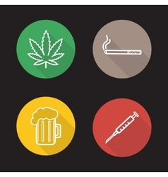 Bad habits linear icons set vector image