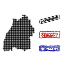 Baden-wurttemberg state map in halftone dot style vector