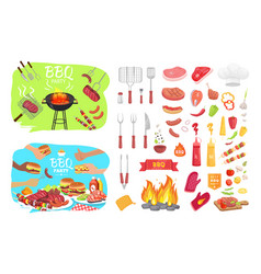 Bbq party poster and icons vector