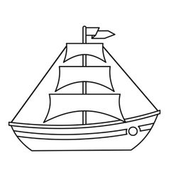 Boat with sails icon outline style vector