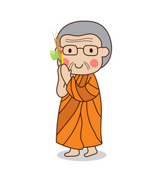 Buddhist monk walking with lighted candle in hand vector