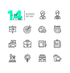 business - monochromatic modern single line icons vector image