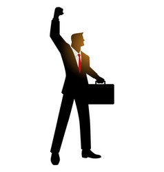 Businessman with suitcase raising his right arm vector
