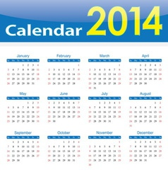 calendar 2014 popular template on isolated vector image