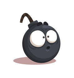 cartoon of funny bomb with surprised vector image