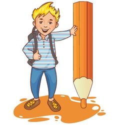Cartoon schoolboy near big pencil esp10 vector
